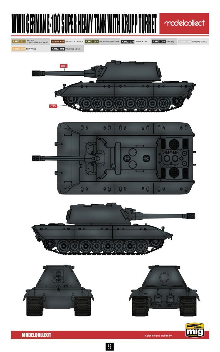 Modelcollect German E-100 Super Heavy 1//72 Tank 380mm Gun Armored Car UA72151