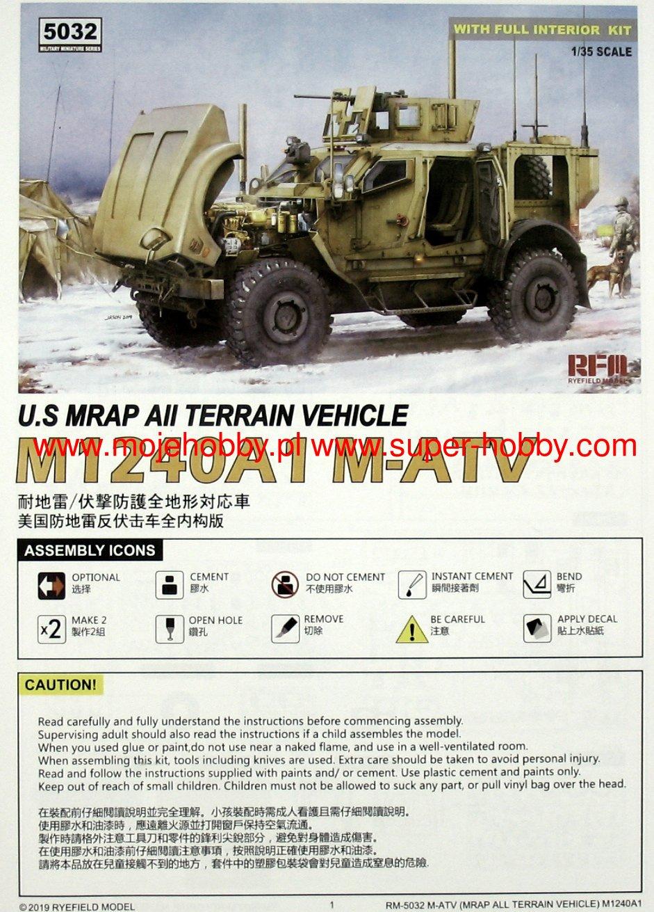 RYE FIELD MODEL RFM5032 5032 1//35 US MRAP ATV M1240A1